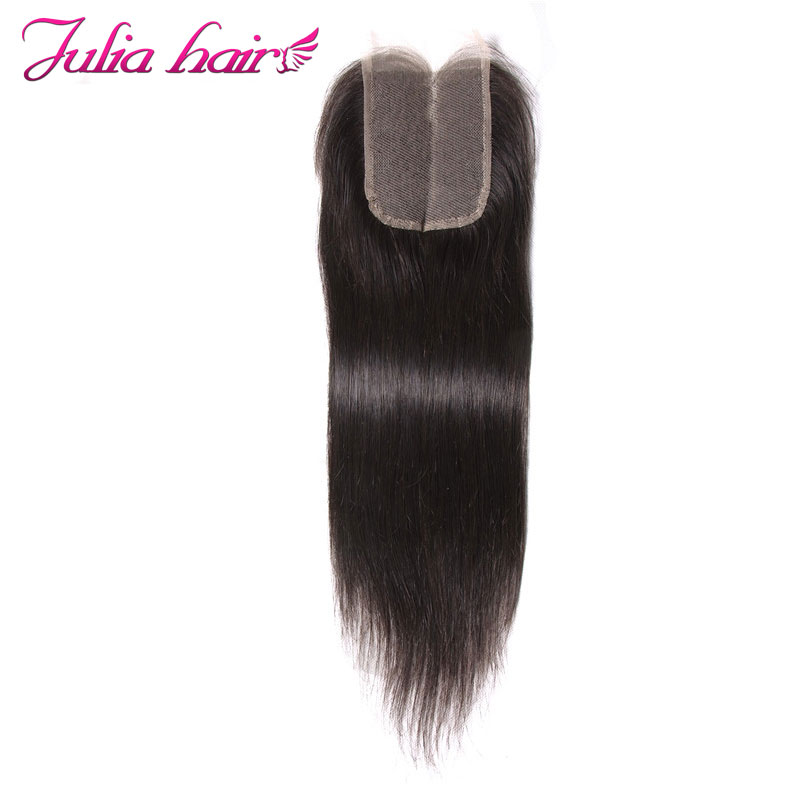 Ali Julia Hair Products Brazilian Straight Lace Closure Middle Part 120 Density Remy Natural Color 10