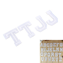 A-Z 1PC pure white English Alphabet Letter Embroidered Iron On Patch For Clothing Badge Paste Clothes Bag Pant Sewing