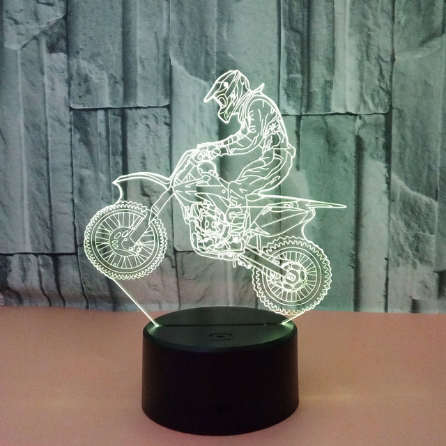 Valentines day gift 7 Color change 3D Hologram ride motorcycle Lamp Lights party favor anniversary gift for boyfriend present 2