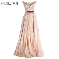 New A line Cap Sleeve Red Sash Chiffon Evening Dresses Fashion
