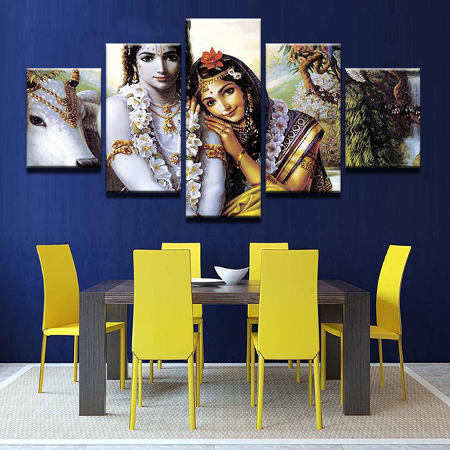 Large Poster Hd Printed Painting Canvas Print 5 Panel Radha Krishna Home Decor Wall Art Indian