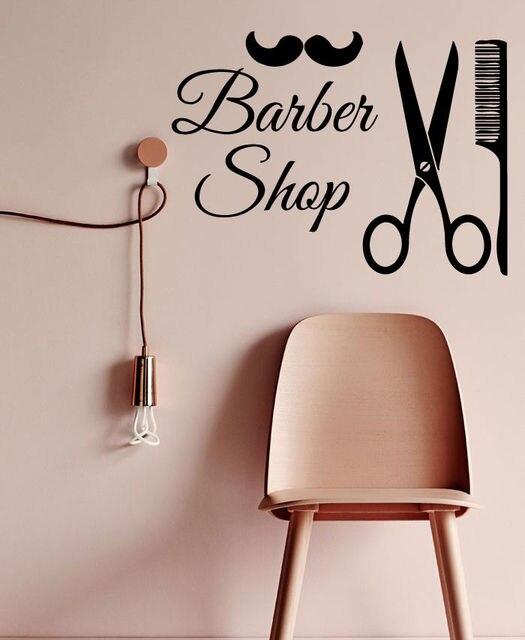 Barber Shop Wall Art Decal Men Barber Shop Scciors Comb Hair Salon ...