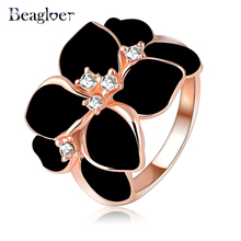 Beagloer Hotting Sale Jewelry Ring With Rose Gold Color Austrian Crystal Black Enamel Flower/Wedding Ring For Women Ri-HQ1006