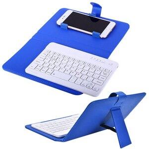 Bluetooth мобильный телефон клавиатура с PU кожаный чехол Мини беспроводной портативный алюминиевый IOS Android iPhone 7 8 X Русские наклейки
