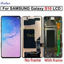 Schwarz 6,1 AMOLED LCD für SAMSUNG S10 LCD G9730 Display SM G9730 Touchscreen Digitizer Für SAMSUNG Galaxy S10 Plus g9750 LCD