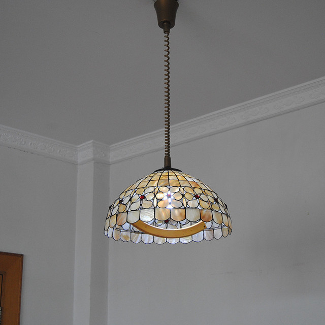European Retro Tiffany Flower Chandelier Lighting Fixture E26 E27 Bulb Vintage Shell Stained Glass Suspension