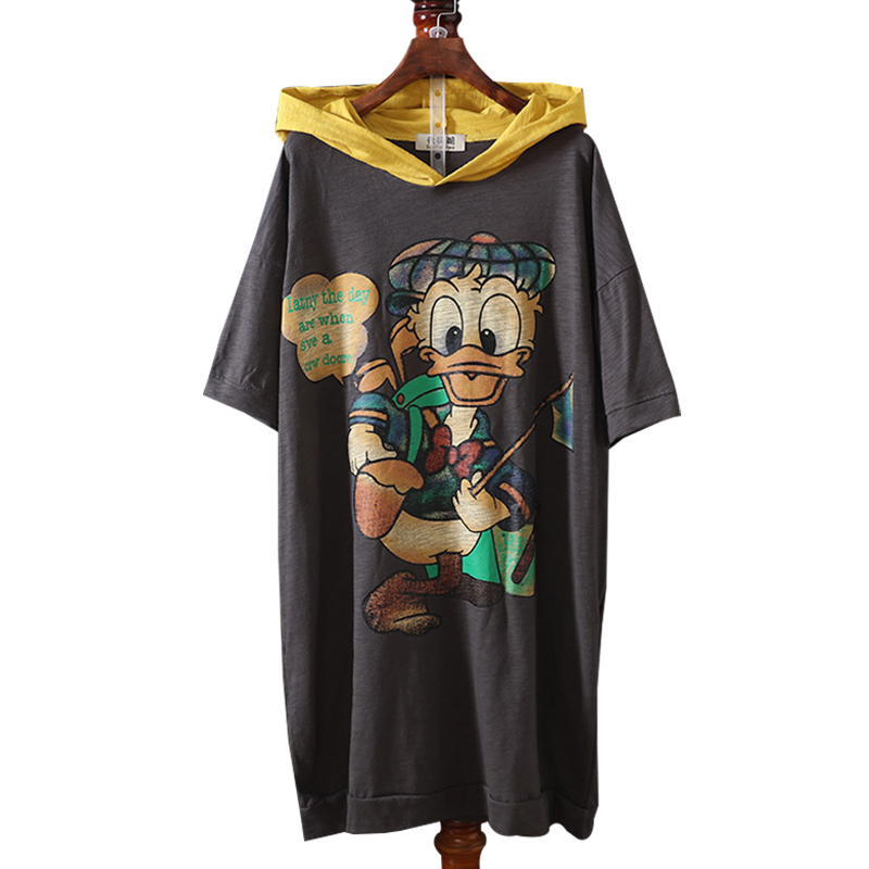 Large Size Women Hooded T-shirts 2018 New Summer Loose Cartoon Printing Female Pullovers Short Sleeve Cotton Tops Medium-long