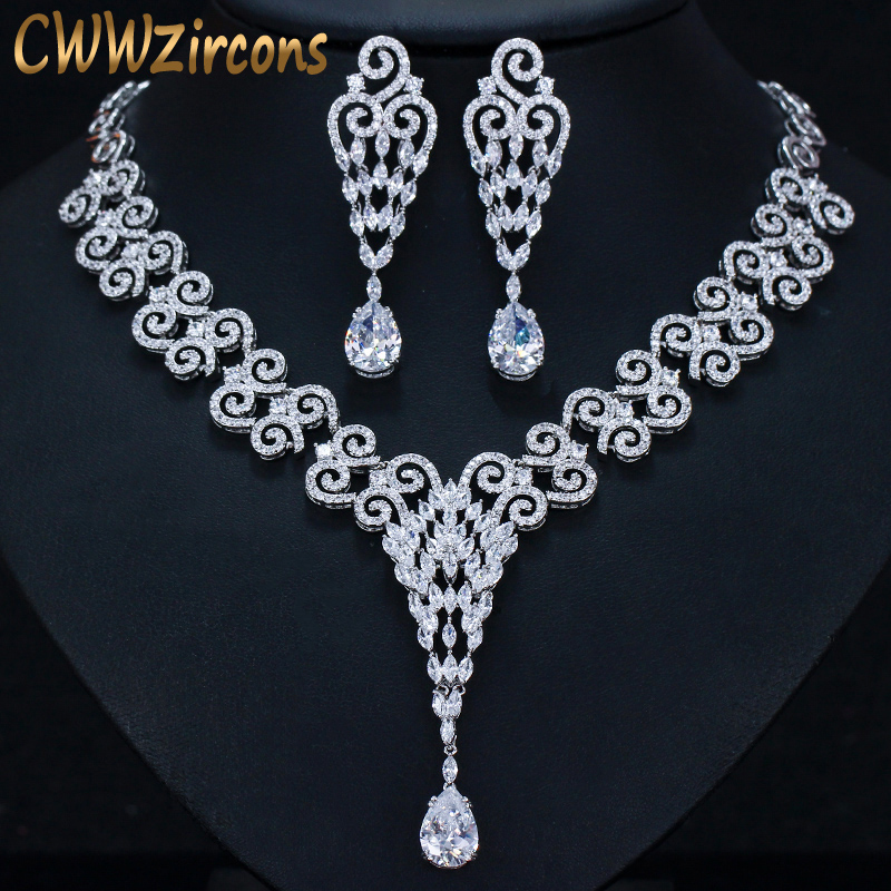 CWWZircons Long Water Drop Cubic Zirconia Stone Big Vintage Royal Wedding Necklace and Earring Jewelry Set for Brides T205CWWZircons Long Water Drop Cubic Zirconia Stone Big Vintage Royal Wedding Necklace and Earring Jewelry Set for Brides T205