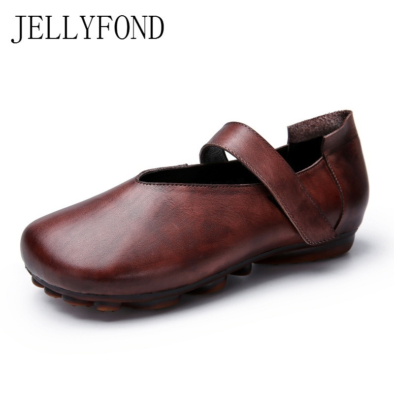 JELLYFOND Brand Women Vintage Mary Janes Flats 2018 Handmade Soft Genuine Leather Comfortable Mom Shoes Woman Big Size vintage embroidery women flats chinese floral canvas embroidered shoes national old beijing cloth single dance soft flats