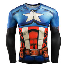 Captain America 3D Printing Sport T-Shirt Tights 2016 New Men Long Sleeve Gym Fitness Running Quick Dry Compression Shirt Tops