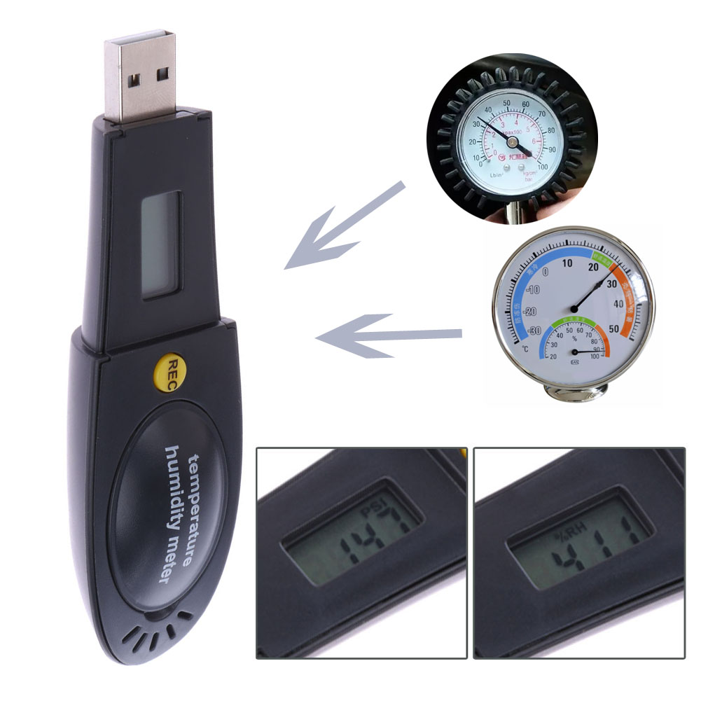 LCD Display Barometric Pressure Temperature Humidity Measurement Data Logger USB Interface Recorder font b Thermometer b