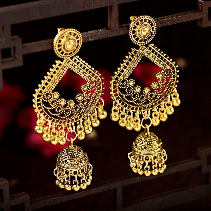 Brincos étnicos femininos de ouro, grandes, pendurados, jhumka, brincos indianos, vintage, brinco de gota, lanterna, borla, palácio, orecchini, feminino hxe095