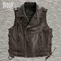 Black brown genuine leather vest cowskin motorcycle jacket men waistcoat off-center zip placket chaleco hombre colete LT748
