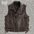 Black brown genuine leather vest cowskin motorcycle jacket men waistcoat off-center zip placket chaleco hombre colete LT748