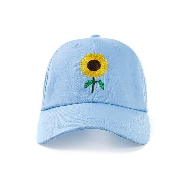 New Fashion Sunflower Embroidery Baseball Caps Cotton Snapback Hats Caps For Men Women Adjustable Couple Cap