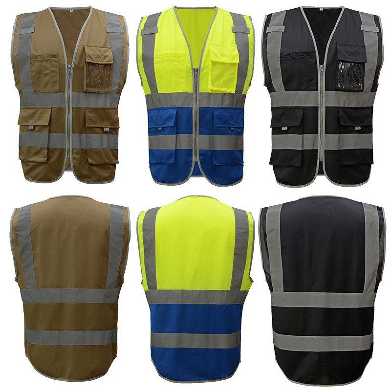 SFvest safety reflective waistcoat high visibility safety vests multi-pockets fluorescent yellow orange multi-color options
