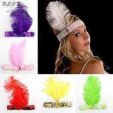 Feather Headbands Flapper Sequin Charleston Dress Accessories Costume Hairband Headpiece Women Ladies Fashion Party Jewelry(China)