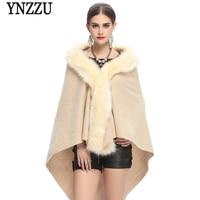 YNZZUใหม่ฤดูใบไม้ร่วงฤดูหนาวผู้หญิงผ้าคลุมไหล่เสื้อหรูหรายาวFauxฟ็อกซ์ขน