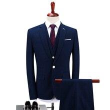 2017 New Blue Men's Suits Jacket + Pants + Vest Fashion Business Wedding Banquet Men Coat Hot Sales Noble Pop Gentleman Clothing