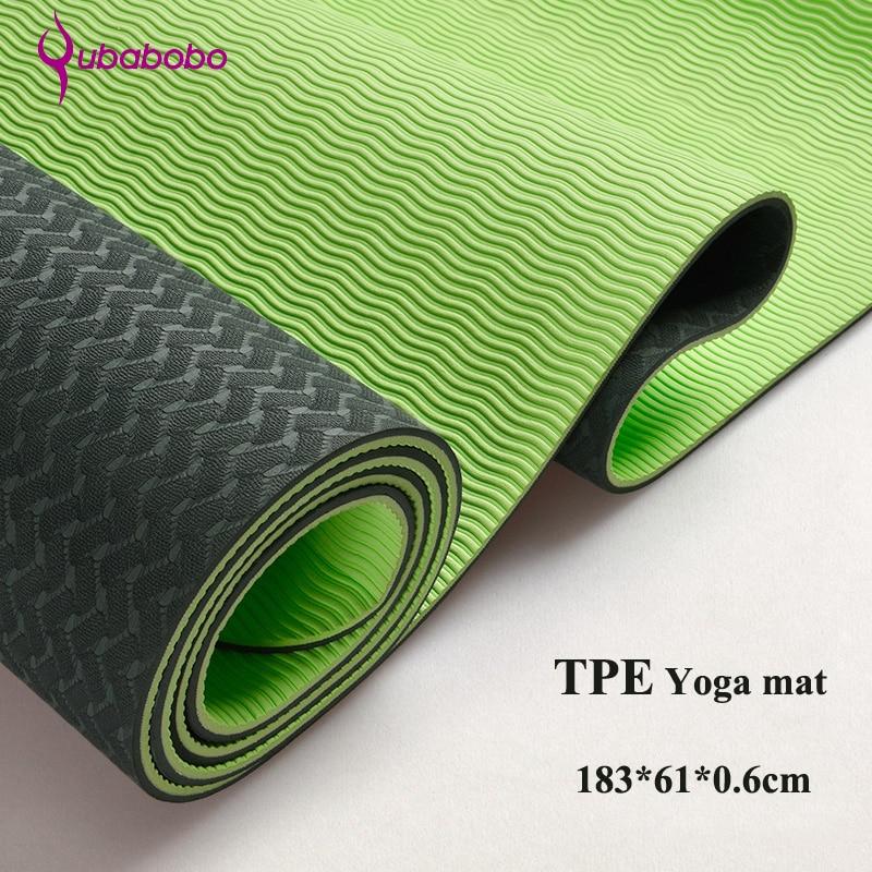 6MM TPE Non-slip Yoga Mats For Fitness Slim Yoga Gym Exercise Mats environmental Tasteless Pad Fitness Mat Sport (183*61*0.6 cm)