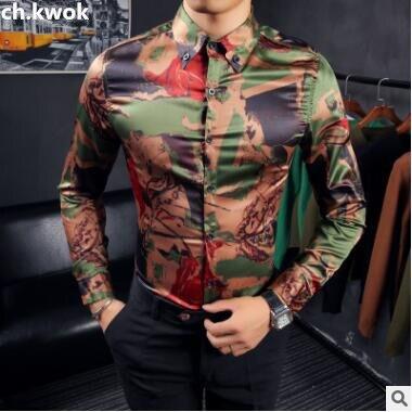 CH. KWOK chemise Camouflage hommes Floral automne imprime chemise hommes hommes hommes chemise Styles Camicie Uomo fête Banquet hommes chemise à manches longues