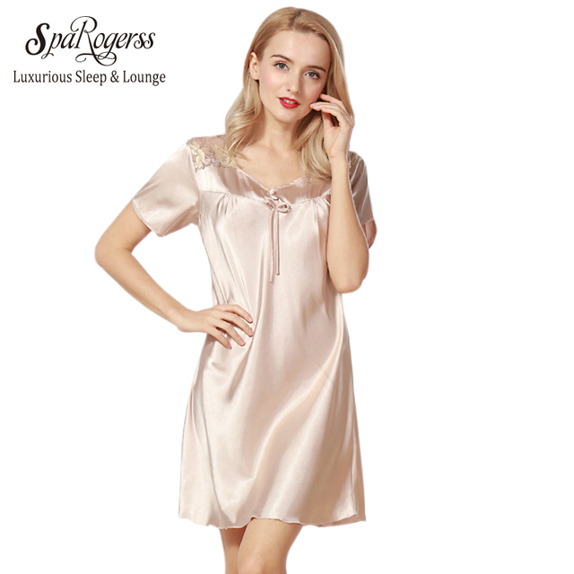 SpaRogerss Luxurious Women Nightgowns 2018 New Faux Silk Lady Summer ...