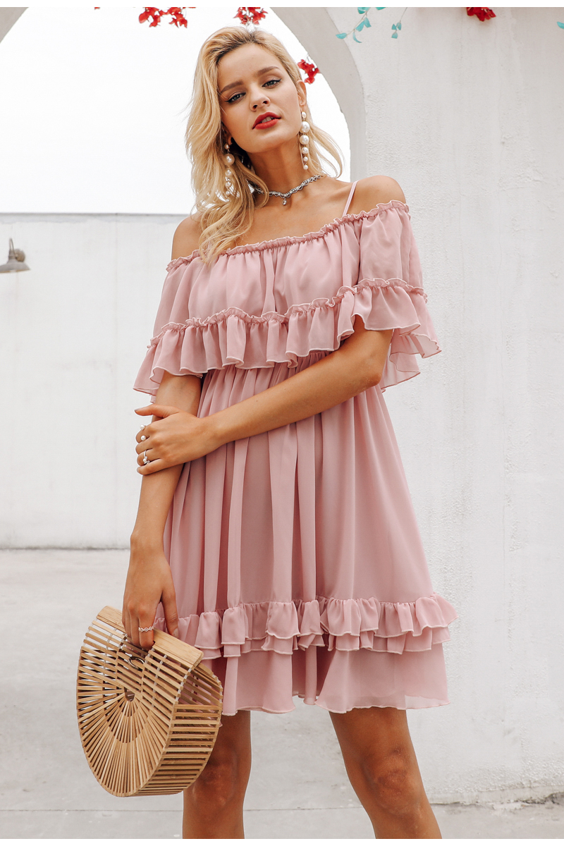 Simplee Elegant ruffle off shoulder women dress Spaghetti strap chiffon summer dresses Casual holiday female pink short sundress 8