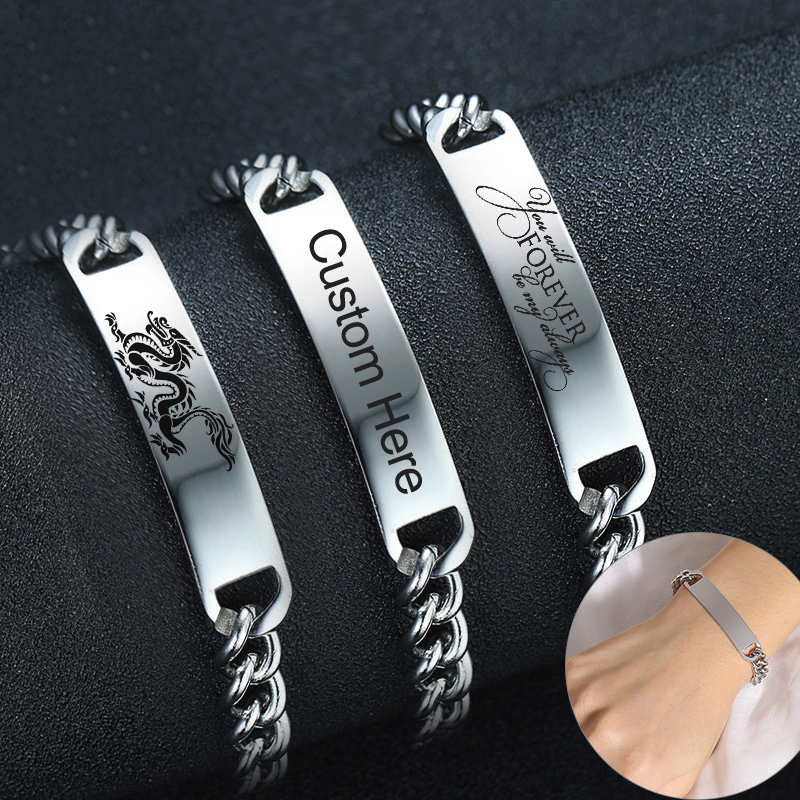 Personalized Custom Bracelets for Women Men Never Fade Solid Silver Tone Stainless Steel Family BFF Birthday Love Gifts image
