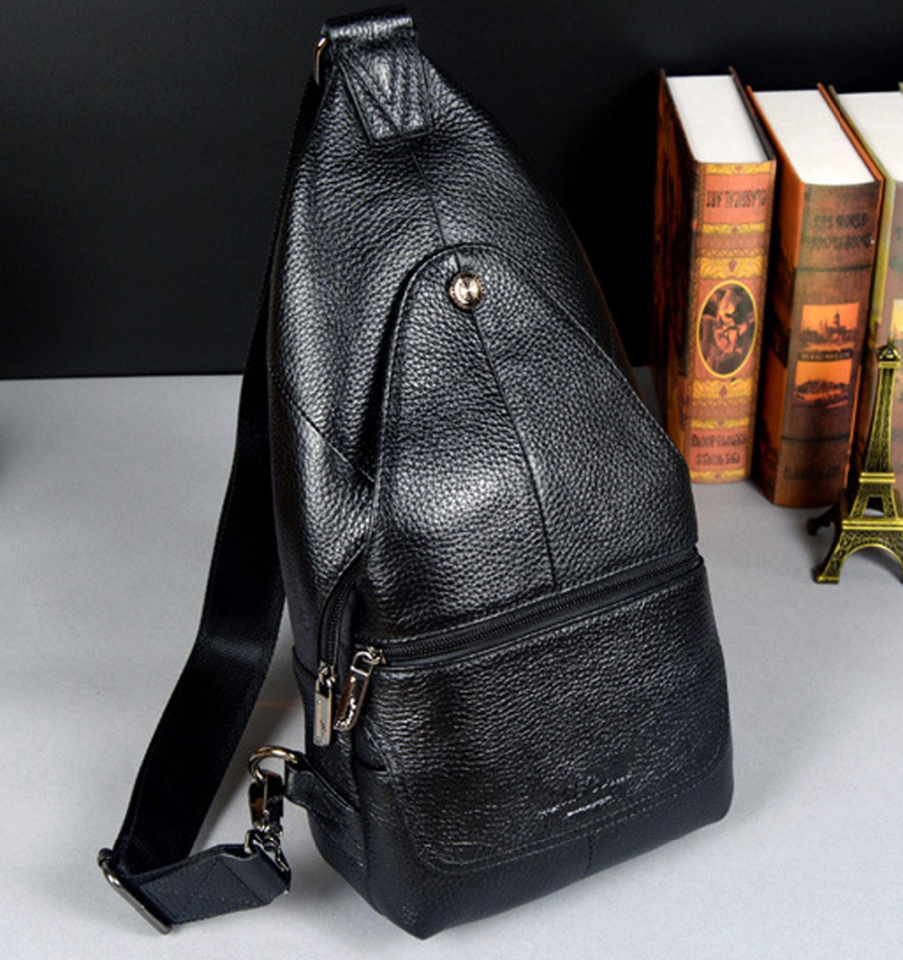 New Men Genuine leather First layer Cowhide High Capacity Travel Cross Body Shoulder Messenger Sling Chest Day Pack Bag genuine leather women s handbag one shoulder cross body small bags women s brief first layer of cowhide leather messenger bag