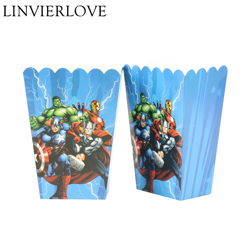 6pcs/set Cartoon Avengers Paper Popcorn Box For Kids Birthday Party Supplies Gift Boxes & Bags Party Favor Accessory Decor