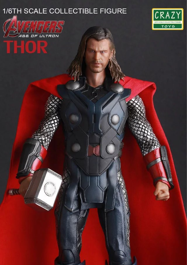 Crazy Toys Marvel Acengers Age of Ultron Thor PVC Action Figure Collectible Model Toy 30cm xinduplan marvel shield iron man avengers age of ultron mk45 limited edition human face movable action figure 30cm model 0778