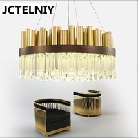 Luxurious Modern LED Crystal Lights Stainless Steel Simple Atmospheric Art Nordic Light Villa Restaurant Crystal Lamp