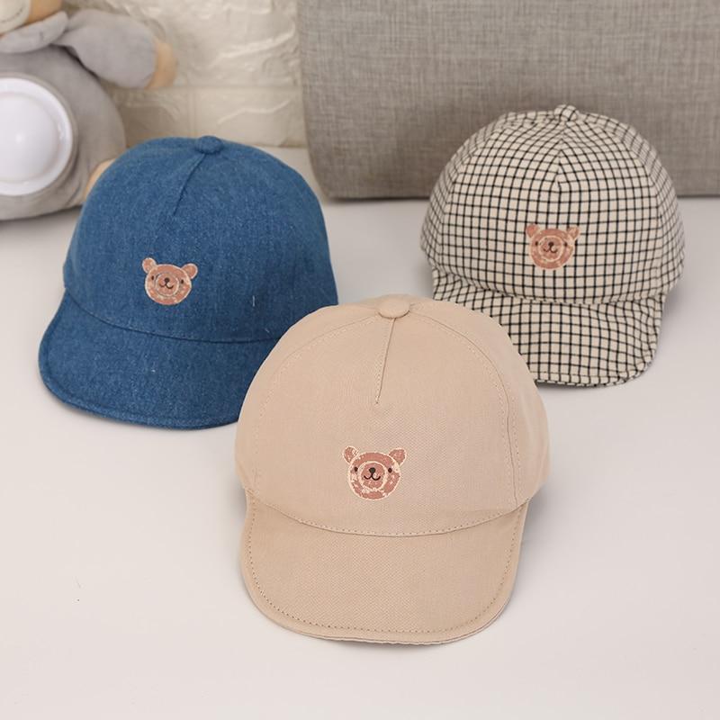 Mais novo verão bebê recém-nascido menina menino chapéu de sol algodão boina chapéu dos desenhos animados listrado urso snapback boné de beisebol do bebê chapéus de balde
