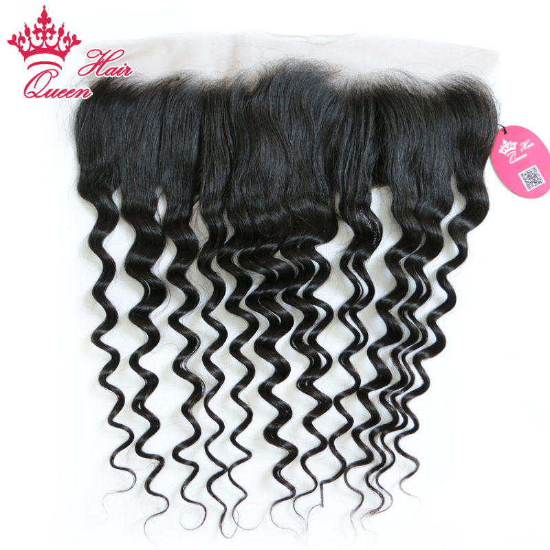 Queen Hair Product Swiss Lace Frontal Closure Ear to Ear 13x4 Brazilian Virgin Hair Natural Wave 100% Human Hair Natural Color