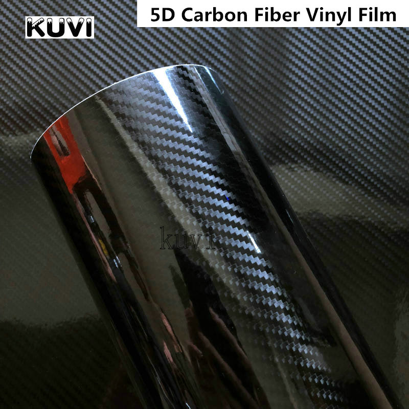 Size:1520mm Car Styling Glossy Black 5D Carbon Fiber Vinyl Film Car Wrap With Air Free Bubble DIY Car Tuning Part Sticker