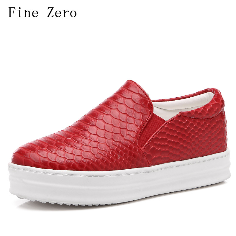 New Women Platform wedges  high heels pump Shoes Patent Leather sliop on  loafer  Brand Female Footwear Shoes for women Creepers bling patent leather oxfords 2017 wedges gold silver platform shoes woman casual creepers pink high heels high quality hds59