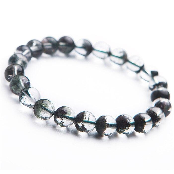 Bijoux fins livraison directe naturel 8mm vert fantôme Bracelets perles rondes Bracelet énergie pierre vert fantôme Quartz cristal