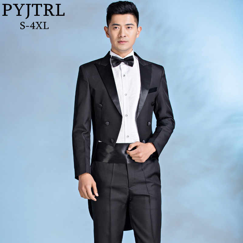 PYJTRL High Quality Serge 4-Piece Set Tuxedos For Men Classic Black Tail Coat Wedding Piano Performance Costume Homme Luxe Suits