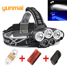 USB 15000LM 5 LED Headlamp 3*Cree XML T6+2Q5 White+Blue Light Headlight Head Lamp Lighting Flashlight Torch Lantern Fishing powerful 12000 lumen 3 cree xml l2 headlamp headlight head lamp light flashlight rechargeable lantern fishing hunting lights