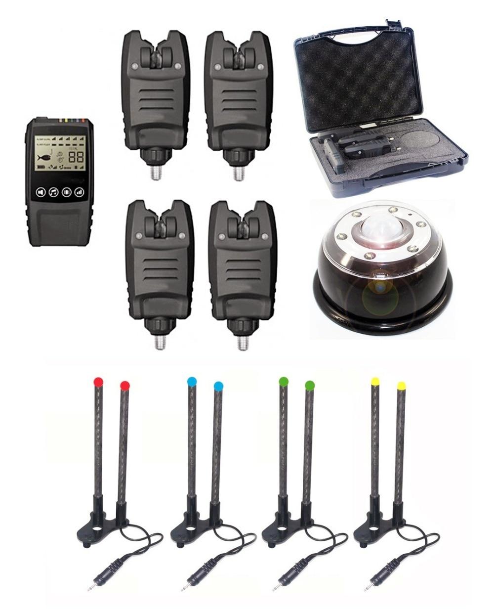VECCHIO CARPA 1 + 4 Galaxy BL Multi-LED Canna Da Pesca Morso Allarme Senza Fili con Intoppo orecchie e Tenda luce per la pesca alla carpa