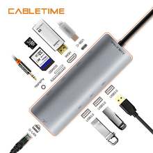 Cabletime USB HUB USB C to HDMI RJ45 Adapter 9 in 1 Type C USB 3.0 HUB SDTF Card Reader Ethernet for Samsung Galaxy S9/Note N132