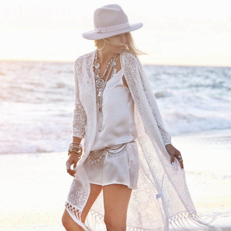 2018 white lace bikini veil cover beach wearing a bathing suit Holiday beach sunscreen tassel cardigan bikini smock 3