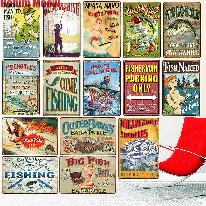 Gone Fishing Shabby Chic Metal Tin Sign Bar Pub Outdoor Plate Fisherman Posters Fish Naked Wall Sticker Vintage Home Decor N273