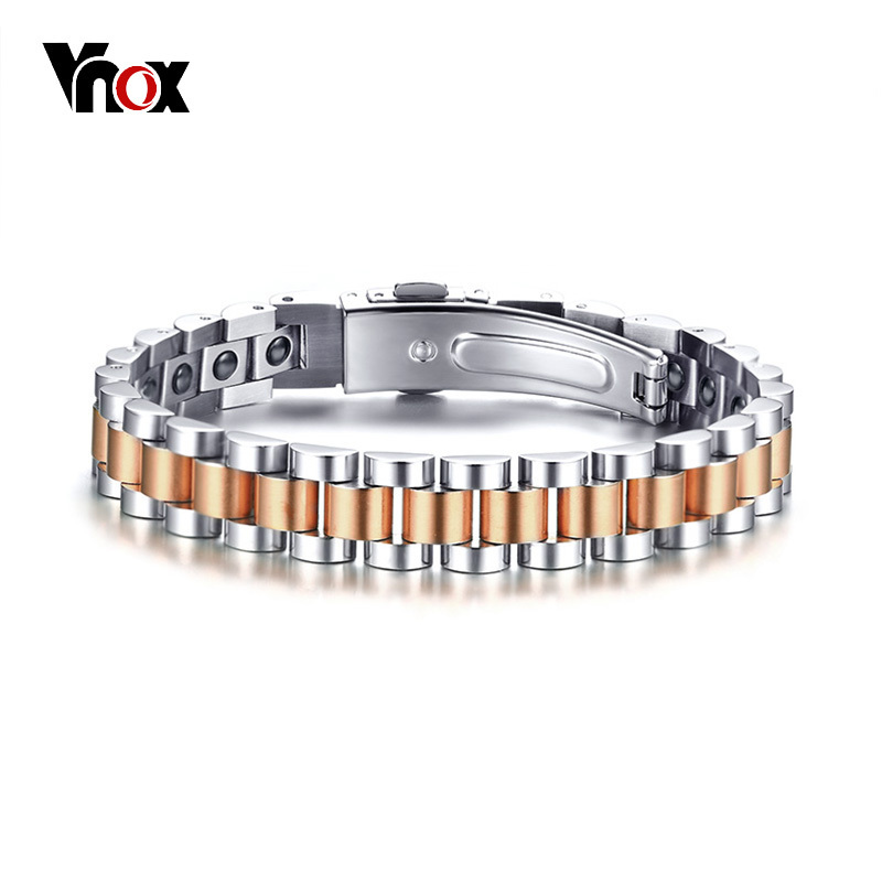 Vnox Bright Rose Hematite Stones Healing Power Energy Therapy Women Men Bracelet Stainless Steel Casual Jewelry