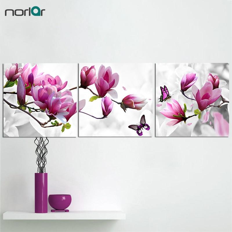 3 gabali purpursarkani rozā magnolijas ziedi ar tauriņa gleznojumu - Mājas dekors