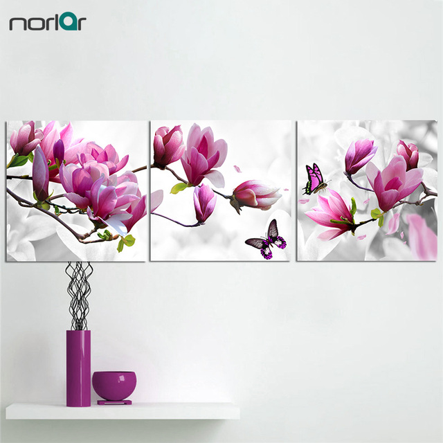 3 pieces purple pink magnolia flowers with butterfly painting modern 3 pieces purple pink magnolia flowers with butterfly painting modern giclee unframed artwork canvas print wall mightylinksfo