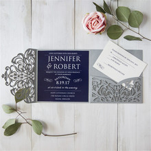 50 Pi Ivory 50 Tri-Fold Laser Cutout Openwork Flower Wedding Invitation Card Set Postcard High-end Business Dealings Can Print(China)