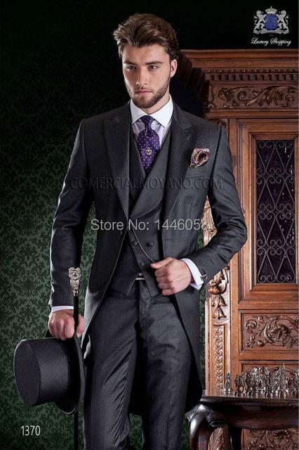Estilo manhã personalizado noivo smoking cinza melhor homem padrinho de casamento terno dos homens casamento ternos noivo Tailcoat ( Jacket + Pants + Tie + Vest )