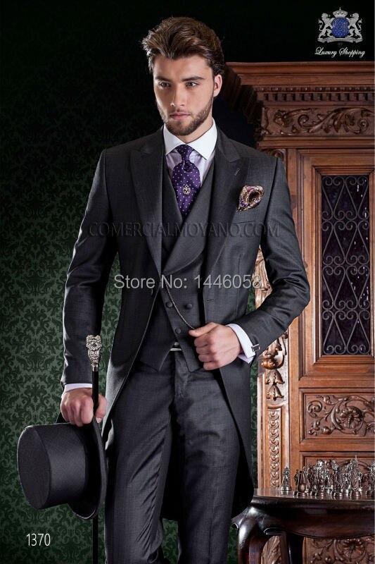 Personnalisé Matin Style Smokings de Marié Gris Meilleur homme Groomsman Suit Hommes Costumes De Mariage Marié Tailcoat (Veste + Pantalon + cravate + Gilet)