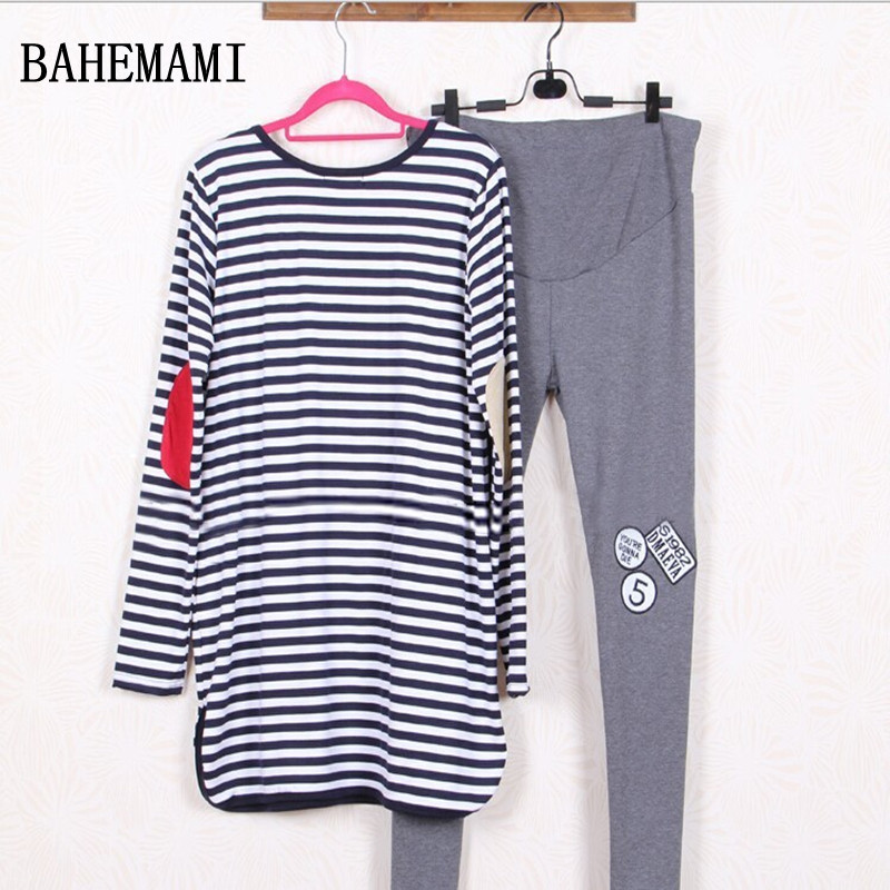 BAHEMAMI Maternity Suits Pregnant Striped Shirt + Leggings/Pants Long Sleeved T-shirt Se ...